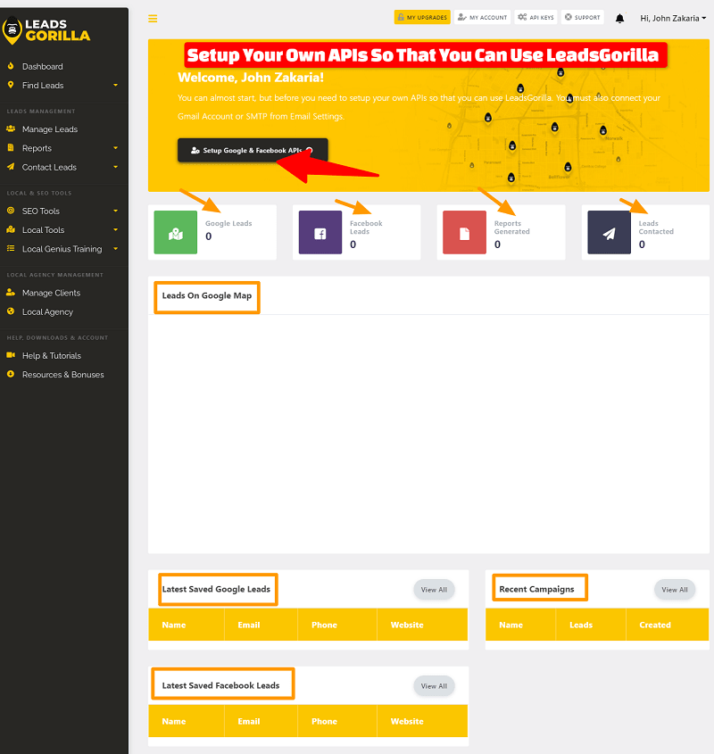 Inside The Dashboard Of LeadsGorilla