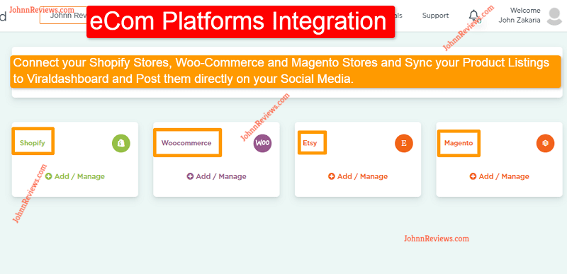 Viral Dashboard eCom Platforms Integration