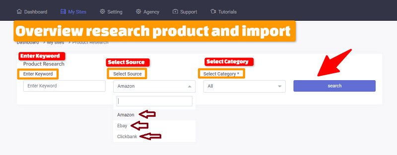 Overview research product and import With Empire Store Builder