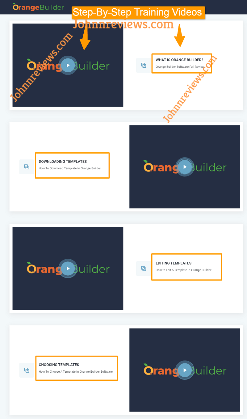 OrangeBuilder Training Videos
