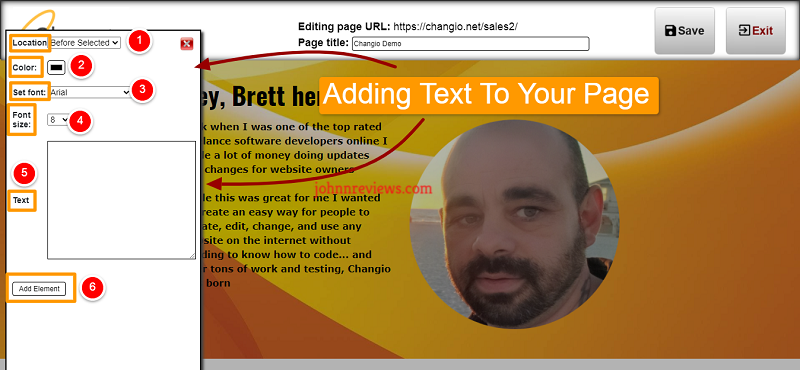 Add Text To Your Pages Created With Changio